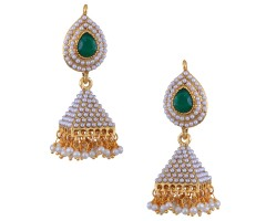 Bridal Emerald Pearl Gold Plated Jhumka